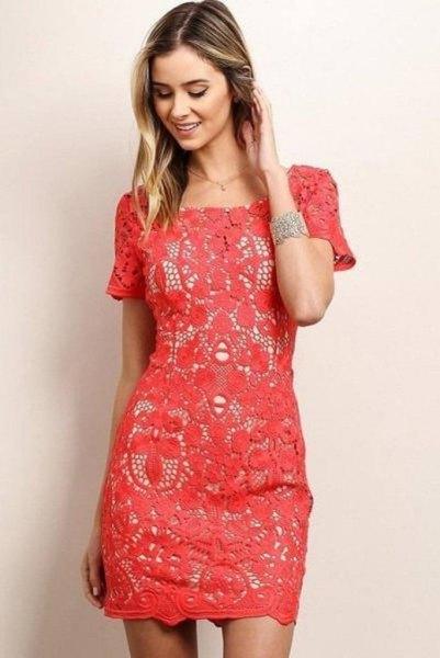 pink short sleeve lace sheath dress