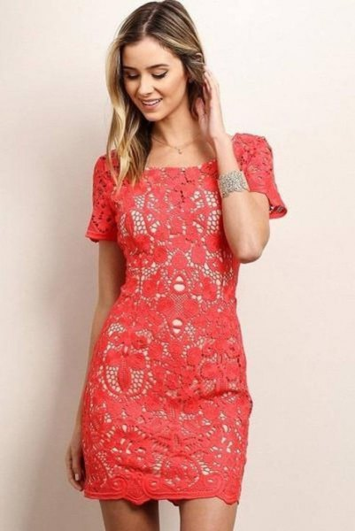 pink short sleeve lace sheath dress