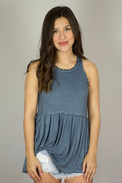 purple pleated hem tunic top with blue mini denim shorts