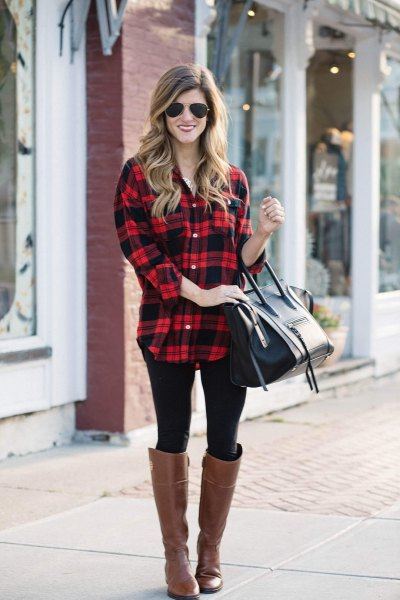red and black plaid long boyfriend shirt with brown leather boots