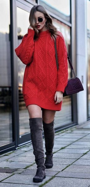 red cable knit sweater dress with grey thigh high boots