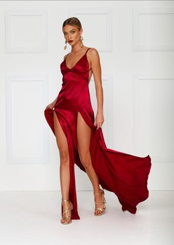 red deep v neck spaghetti strap double slit maxi dress