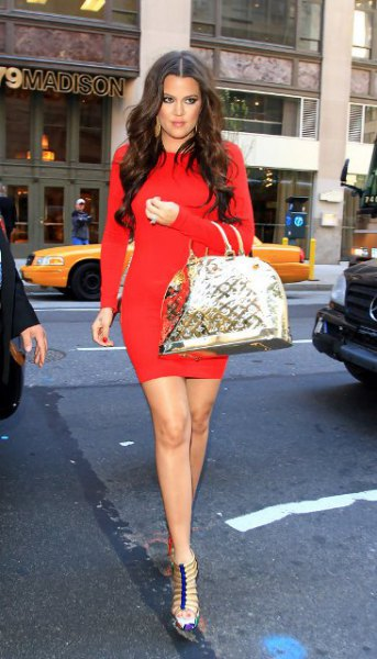 red long sleeve mini bodycon dress with strappy heels