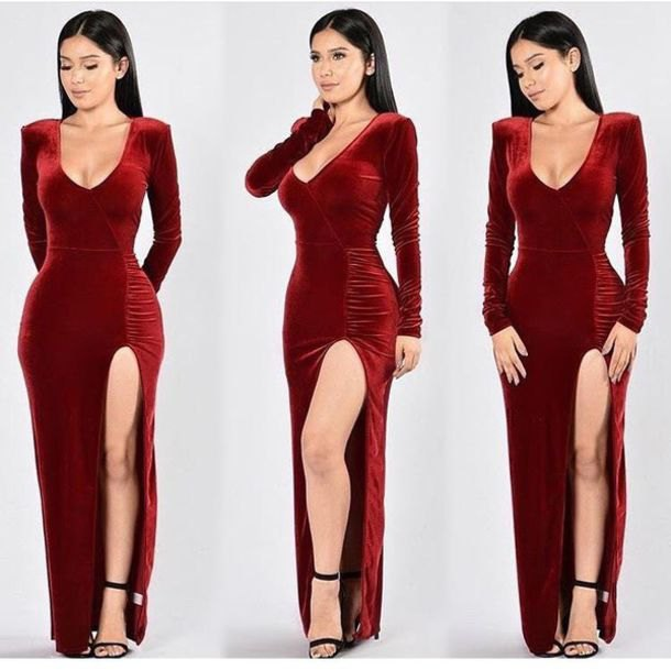 red low cut velvet maxi dress with black open toe heels