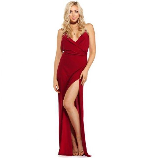 red maxi slit dress with matching choker