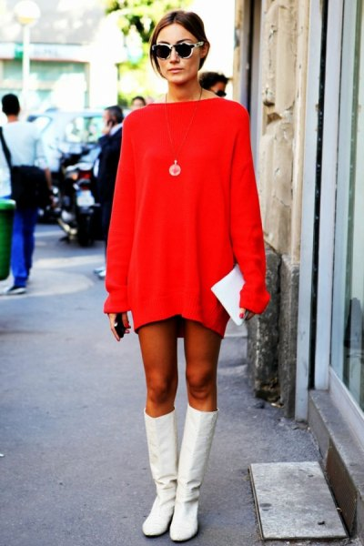 red mini sweater dress with white long boots