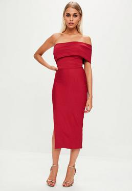 red off the shoulder midi dress with slit