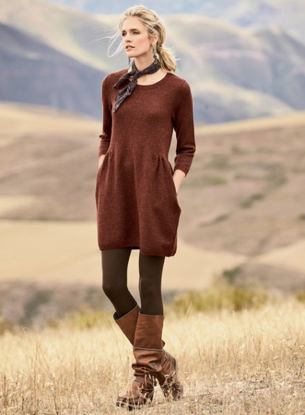 red scoop neck cotton gathered waist tunic with stockings and boots