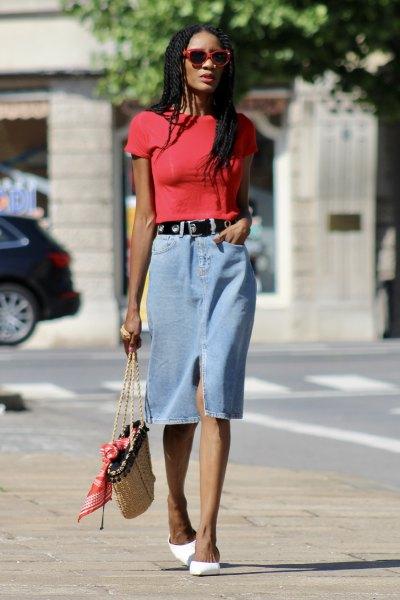 red t shirt with midi light blue denim skirt