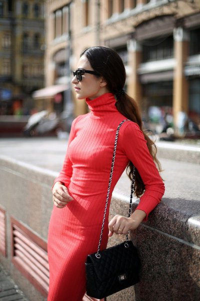red turtleneck ribbed thin sweater midi dress