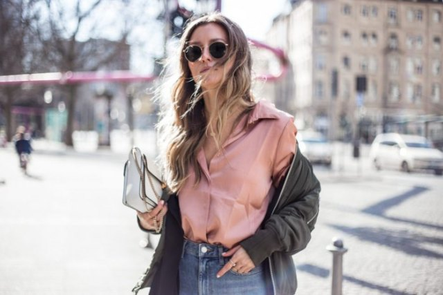rose gold button up satin shirt with green bomber jacket