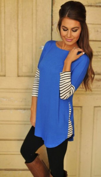 royal blue and black and white striped extra long tunic top with leggings