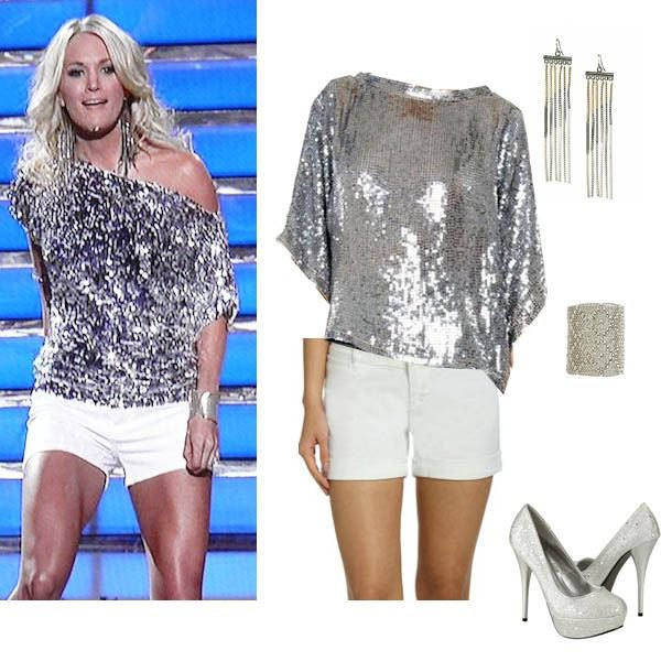 silver sequin metallic one shoulder shirt with white mini shorts