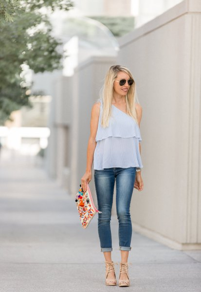 sky blue chiffon top with cuffed skinny jeans