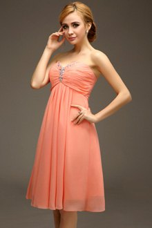 strapless carol pink empire waist midi chiffon flared cocktail dress