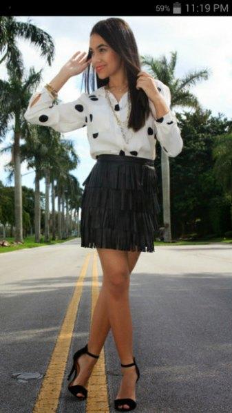 white and black polka dot shirt with mini fringe skirt