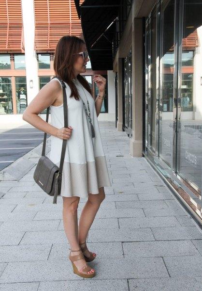 white and blush pink color block mini shift dress