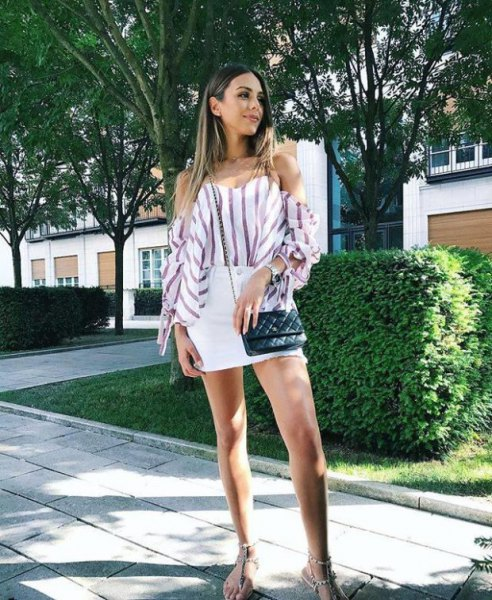 white and grey striped off the shoulder blouse with mini skirt