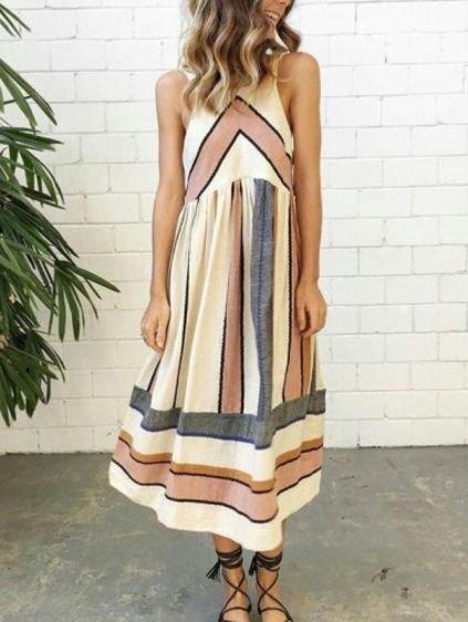 white and pink patterned midi sleeveless shift dress