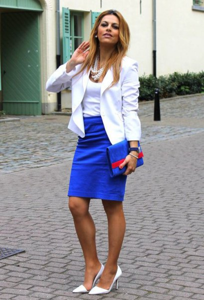 white blazer with scoop neck top and royal blue pencil skirt