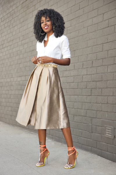 white button up shirt with rose gold midi flared skirt