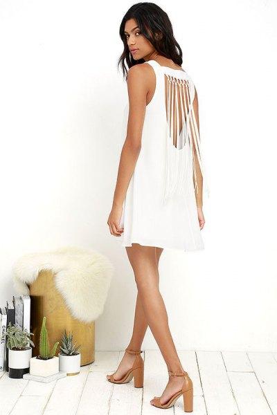 white cutout back sleeveless mini shift dress