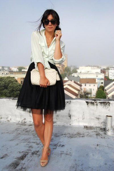 white linen shirt with black mini chiffon skater skirt