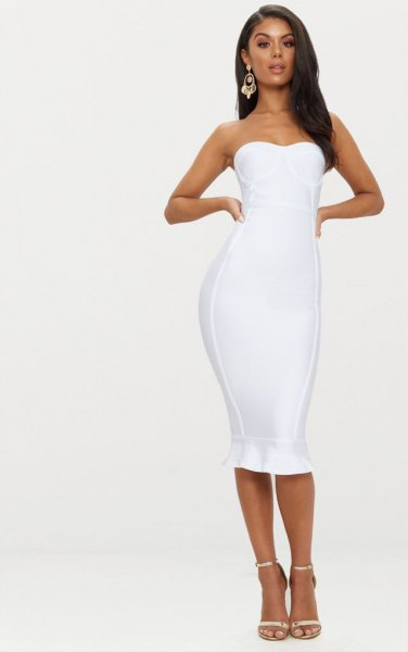 white midi ruffle hem midi bodycon dress