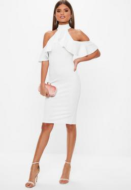 white mock neck cold shoulder ruffle knee length dress
