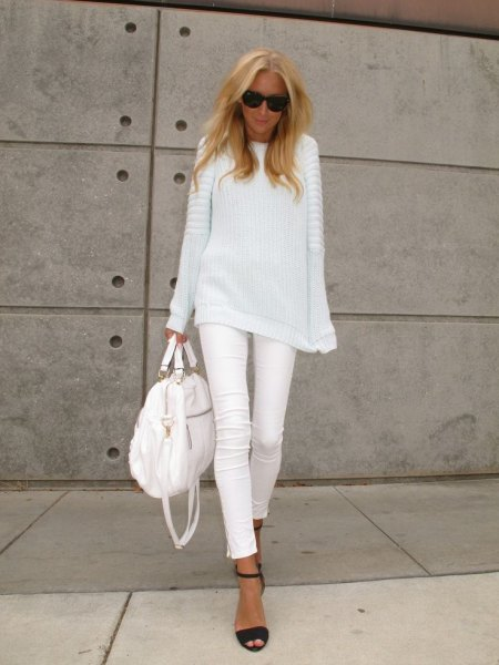 white relaxed fit ribbed knit sweater with matching skinny cropped jeans