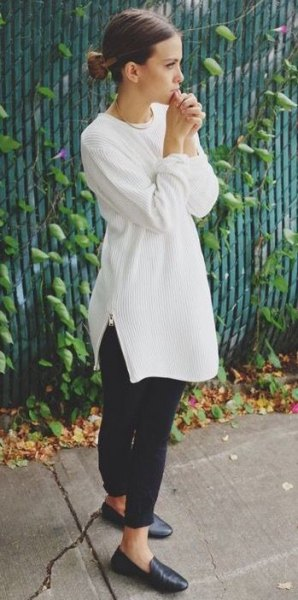 white ribbed crew neck tunic dressy sweater with black leather loafers