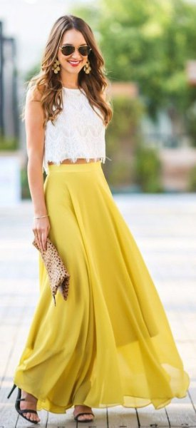 white scalloped hem crop top with mustard yellow maxi flowy skirt
