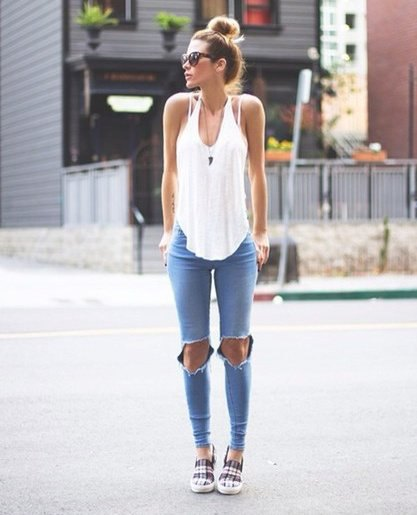 white tank top with light blue skinny ripped jeans and plaid sneakers