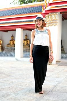 white tribal printed tank top with black maxi skirt