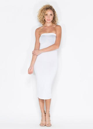 white tube midi bandage dress with open toe heels