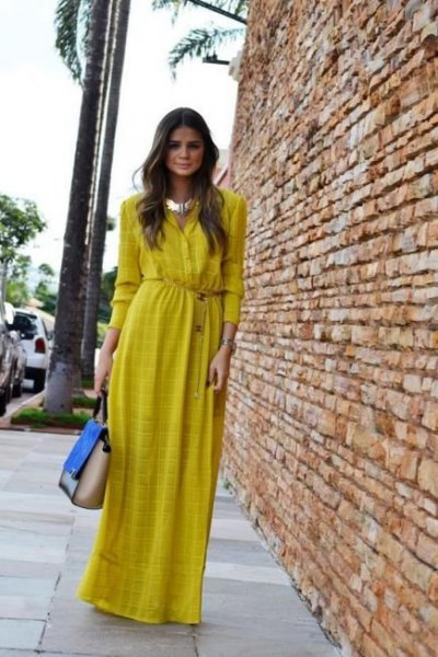 yellow patterned maxi shirt dress with silver choker necklace