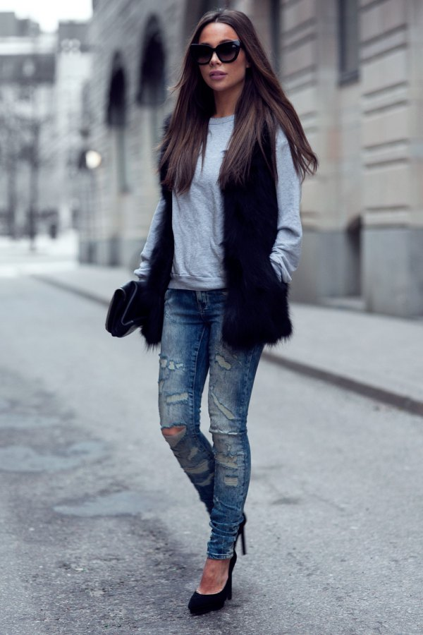 how to style black faux fur vest 15 super chic outfit ideas for