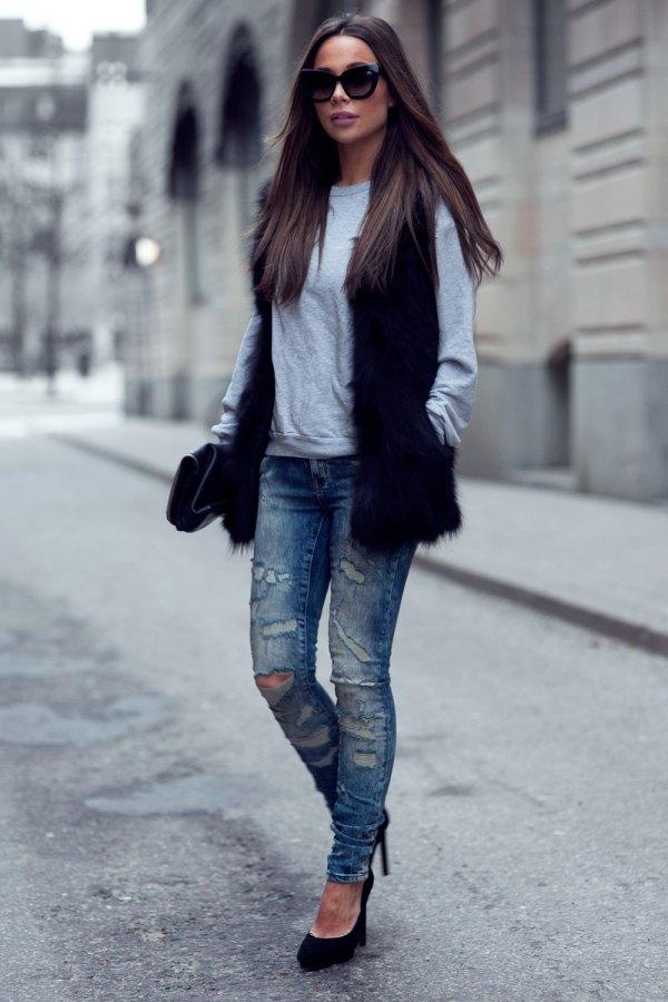 best black faux fur vest outfit ideas for ladies