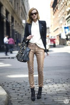 black blazer with white shirt and skinny gold pants