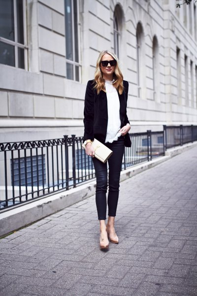 black blazer with white sweater and velvet leggings
