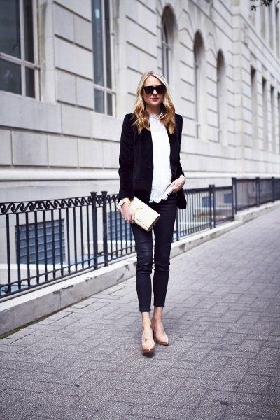 black blazer with white sweater and velvet leggings