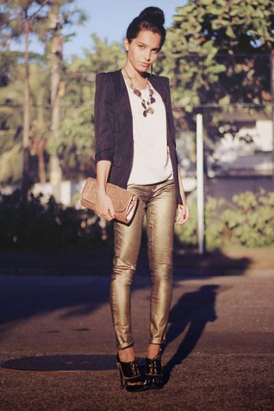 black blazer with white tee and boho style statement necklace