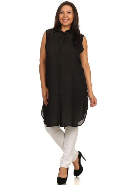 black button up sleeveless chiffon tunic top with ballet heels