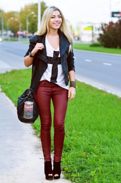black leather blazer with matching red skinny pants