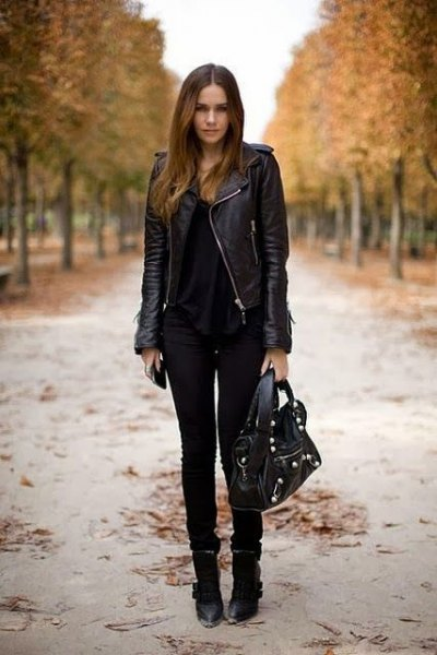 black leather jacket with biker jeans and ankle boots