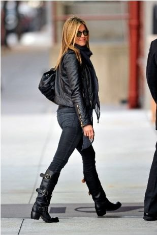black leather jacket with skinny jeans and knee high moto boots