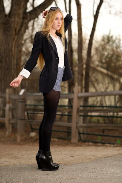 black long blazer with grey mini skirt and stockings