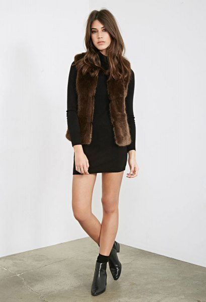 black long sleeve mini shift dress with dark brown faux fur vest