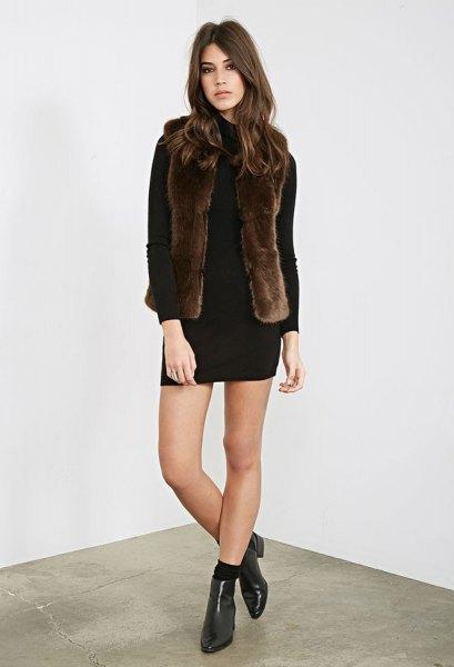 black long sleeve mini shift dress with dark brown faux fur vest