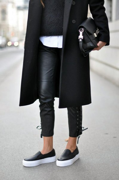 black longline wool coat with leather leggings